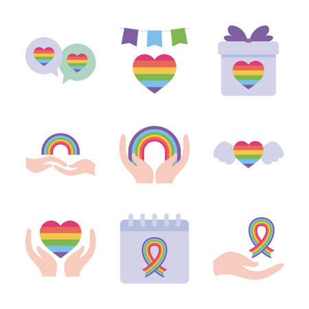 flat style icon set design, Pride day lgtbi sexual orientation and identity theme Vector illustration Vectores