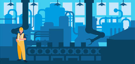 worker in factory workplace vector illustration design Stock Illustratie