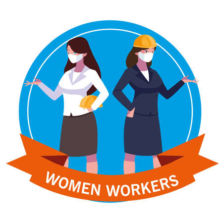 Architect and businesswoman with mask and helmet design, Women workers occupation and job theme Vector illustration