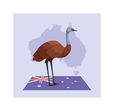 greeting card with australian emu vector illustration design
