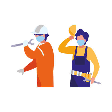 industrial workers men working with face mask vector illustration design Vector Illustratie