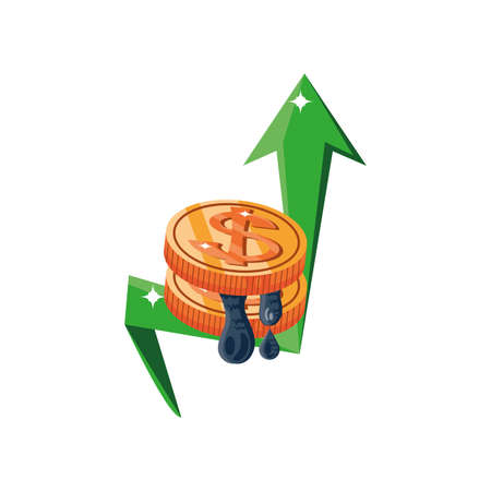 crude oil price increases, oil prices up vector illustration design