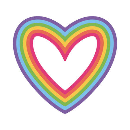 lgtbi heart flat style icon design, Pride day sexual orientation and identity theme Vector illustration