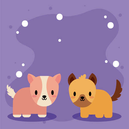 cute card with guinea pig and dog, kawaii vector illustration design Vectores