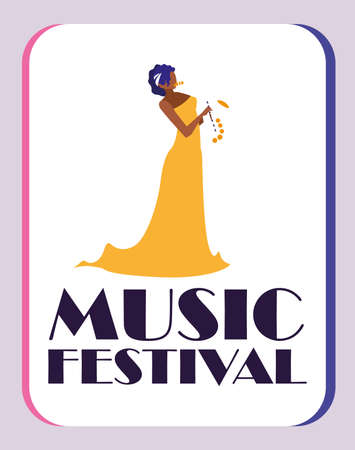 Musician woman with saxophone design, Music festival sound melody song musical art and composition theme Vector illustration