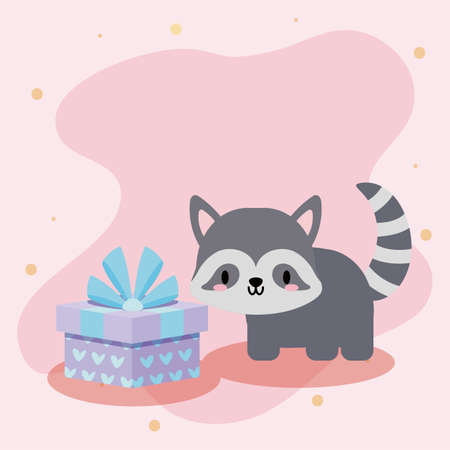 cute birthday card with raccoon kawaii vector illustration design