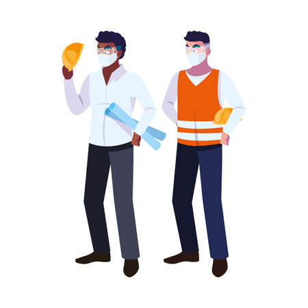 architect and operator with mask vector illustration desing