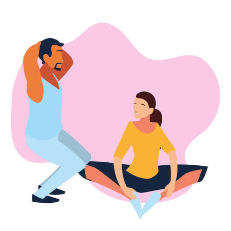 couple doing stretching and strength exercise vector illustration design