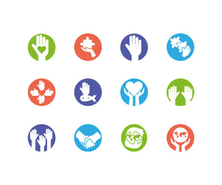 Icon set design of Zero discrimination day awareness help support campaign love life care and solidarity theme Vector illustration