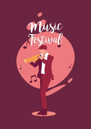 Musician man with saxophone design, Music festival sound melody song musical art and composition theme Vector illustration