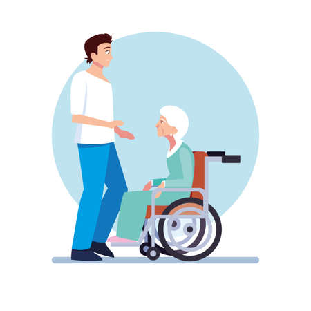 young man take care of old woman vector illustration design
