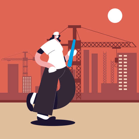 engineer woman with face mask, safety and prevention vector illustration design Stock Illustratie