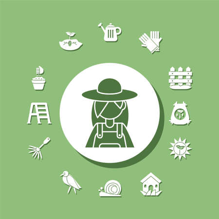 cartoon gardening woman with related icons around over green background, silhouette style icon, vector illustration