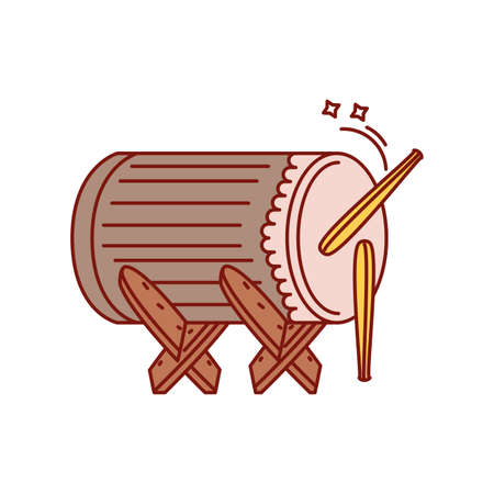 traditional turkish drum, musical instrument on white background vector illustration design Ilustrace