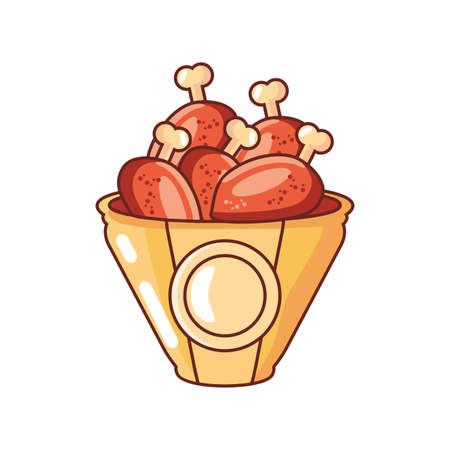 container with chicken leg on white background vector illustration design Ilustración de vector