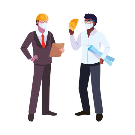 men engineer and executive with mask and helmet vector illustration design Иллюстрация