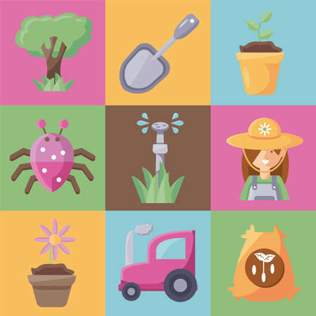 gardening concept icon set, flat detail style vector illustration