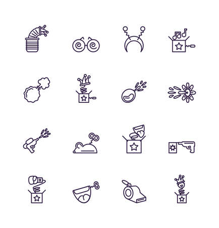 jokebox and fools day icons set over white background, line style design, vector illustration