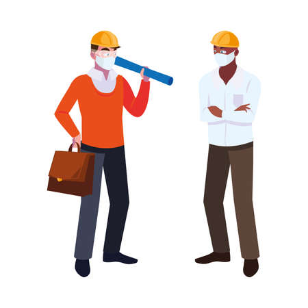 engineer and architect with mask and helmet vector illustration desing