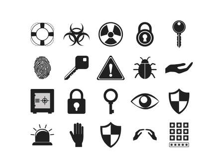 Icon set design of Security system warning protection danger web alert and safe theme Vector illustration