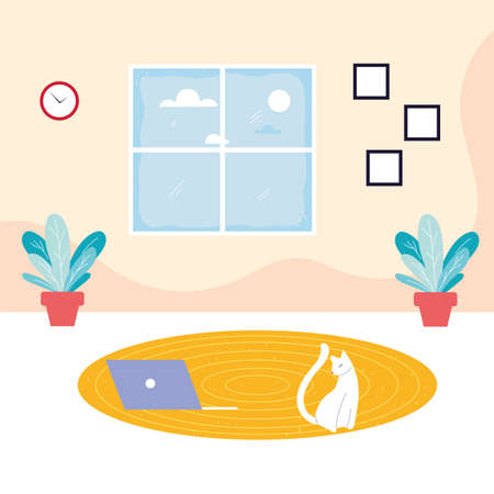 cute cat in living room vector illustration design