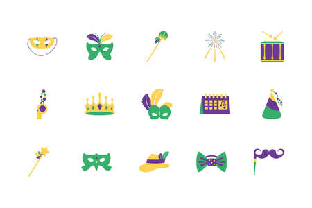 Mardi gras icon set design, Party carnival decoration celebration festival holiday fun new orleans and traditional theme Vector illustration Vecteurs
