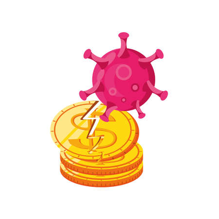 broken coin by virus on white background vector illustration design