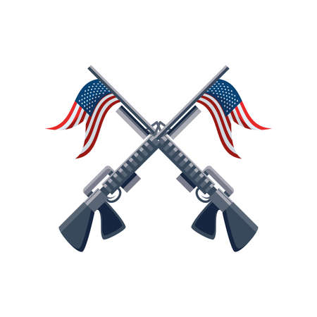 rifle with flag of united states on white background vector illustration design
