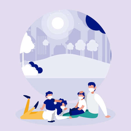 Family with masks at park in front of city design of Covid 19 virus theme Vector illustration