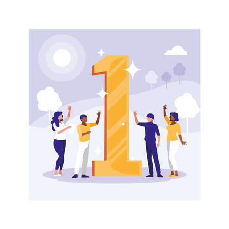 group of people business celebrating success, successful business team vector illustration design