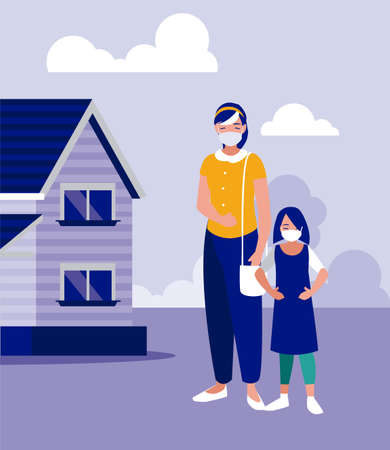 Mother and daughter with masks outside house design of Covid 19 virus theme Vector illustration Ilustracja