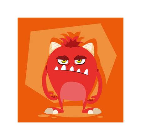 alien monster for halloween, angry monster vector illustration design