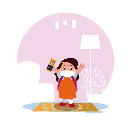 Girl kid cartoon with mask and school bag at home design of Covid 19 virus theme Vector illustration Ilustracja