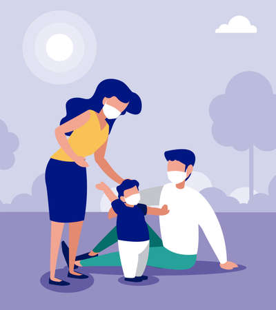 Family with masks at park design of Covid 19 virus theme Vector illustration
