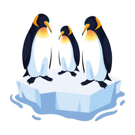 three penguin on an ice floe drifting vector illustration design