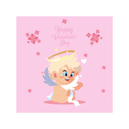 greetings card for valentines day, sweet cupid angel vector illustration design