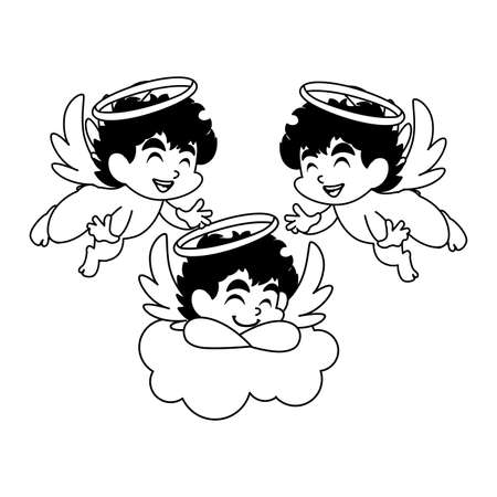 cute cupid angels in different poses on white background vector illustration design Çizim