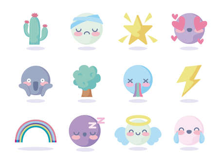 star and cute emojis icon set over pink background, colorful design, vector illustration Çizim
