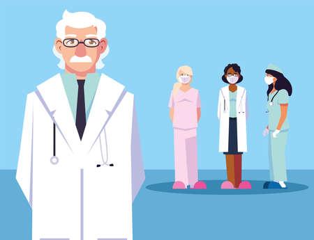 group of doctors, staff and medical team vector illustration design