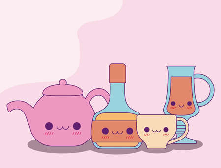 kettle bottle mug and cup design, Kawaii food cute character emoticon theme Vector illustration