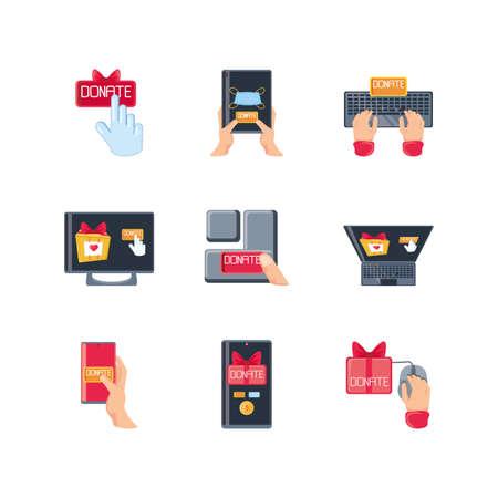 set of icons donation on white background vector illustration design