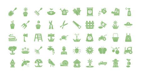 gardening equipment icon set over white background, flat detail style, vector illustration