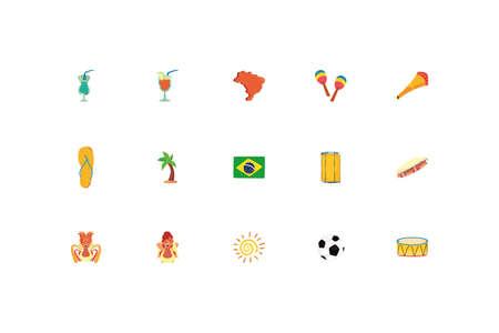Brazil icon set design, Culture tourism brazilian travel south latin america country and traditional theme Vector illustration Vettoriali