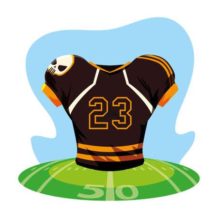 american football jersey, t-shirt sport on stadium grass vector illustration design
