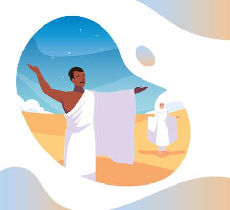 couple of people pilgrims hajj, day of Dhul Hijjah vector illustration design