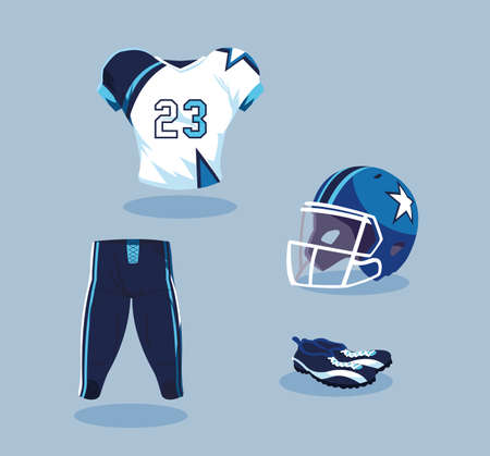 american football player outfit in blue and white vector illustration design Illusztráció