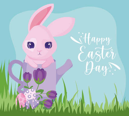 Happy easter rabbit with watering can and eggs design, Spring decoration holiday greeting ornament celebration festive season tradition and festival theme Vector illustration Archivio Fotografico - 149828184