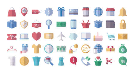 money and shopping icon collection over white background, flat style, vector illustration