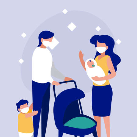 Family with masks in front of circle design of Covid 19 virus theme Vector illustration
