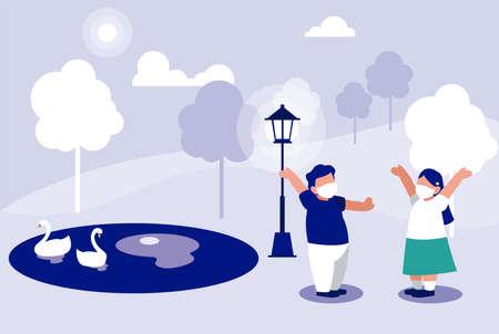 Kids with masks at park design of Covid 19 virus theme Vector illustration Ilustracja